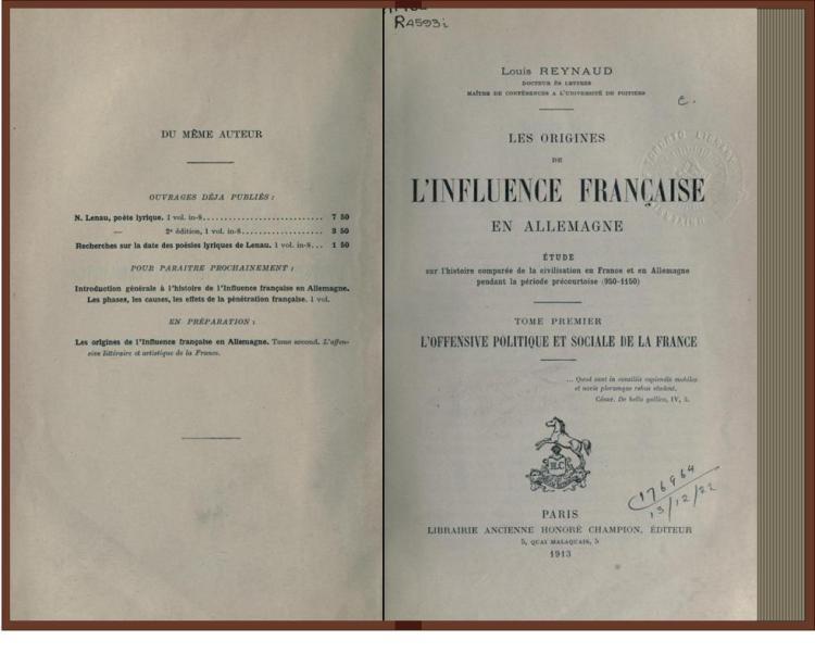 les origines de l'influence française en Allemagne (Paris 1913)