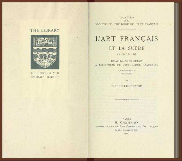 L'art français et la Suède de 1637 a 1816; essais de contribution à l'histoire de l'influence française (1913)
