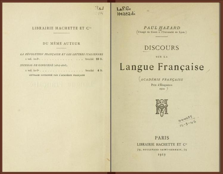 Discours sur la langue française .. (1913) - Paul Hazard