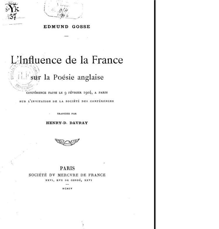 Influence de la France sur la poésie anglaise, Edmun Gosse, 1904