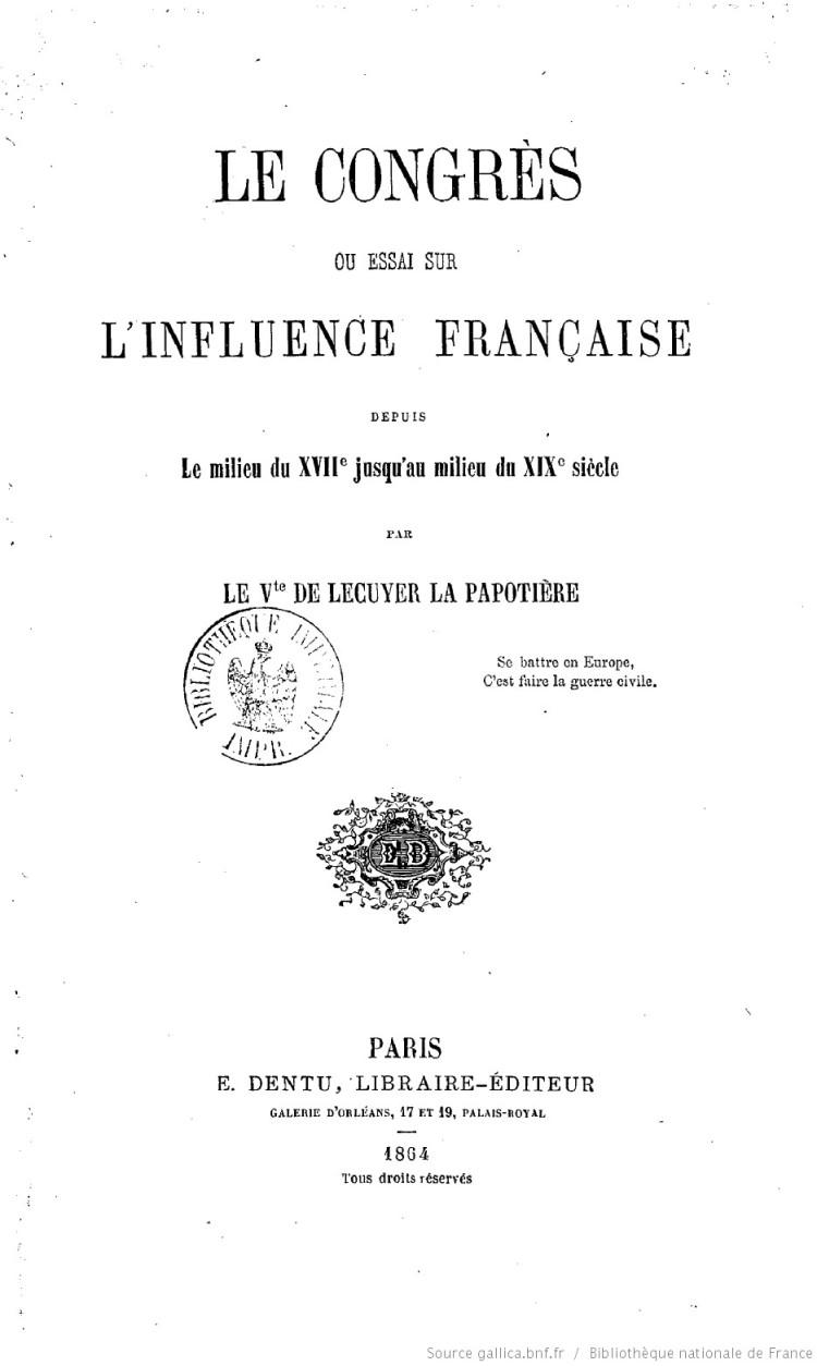 le-congres-ou-essai-sur-linfluence-francaise-lecuyer-1864
