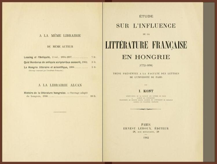 Étude sur l'influence de la littérature française en Hongrie, 1772-1896 (1902)