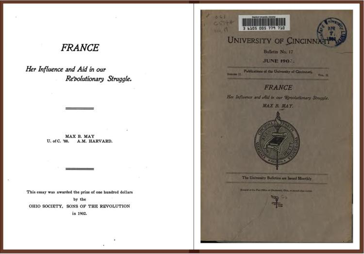 France, her influence and aid in our Revolutionary struggle (Cincinnati 1902)