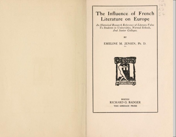 The influence of french literature on Europe (Emeline Maria Jansen, 1919)