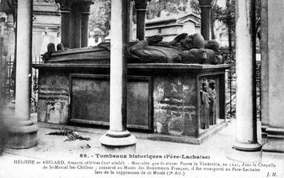 Tomb of Heloise and Abelard in Père Lachaise Cemetery, Paris, France