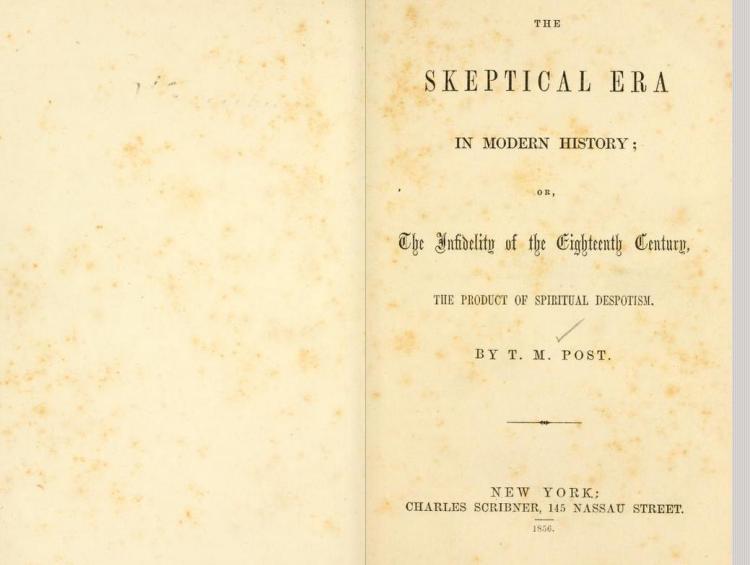 The Skeptical Era in Modern History, 1856