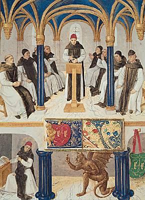 Saint Bernard enseignant. Miniature extraite du livre d'heures d'Étienne Chevalier, enluminé par Jean Fouquet. (Musée Condé, Chantilly.)