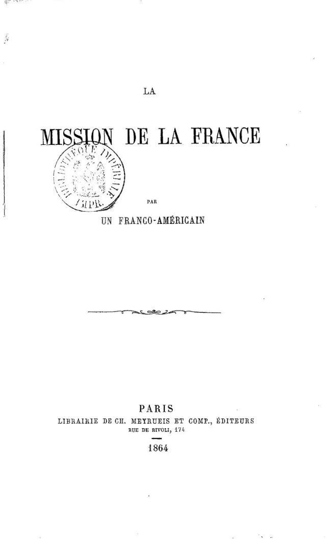 La mission de la France  par un Franco-Américain (1864)