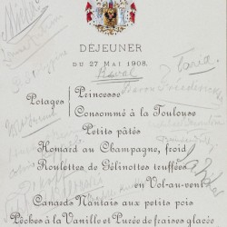 Menu for dinner, May 27 1908