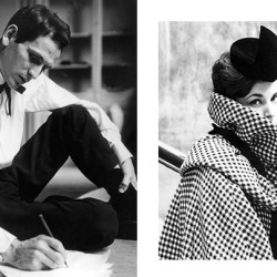 Pierre Cardin drawing clothes in 1957