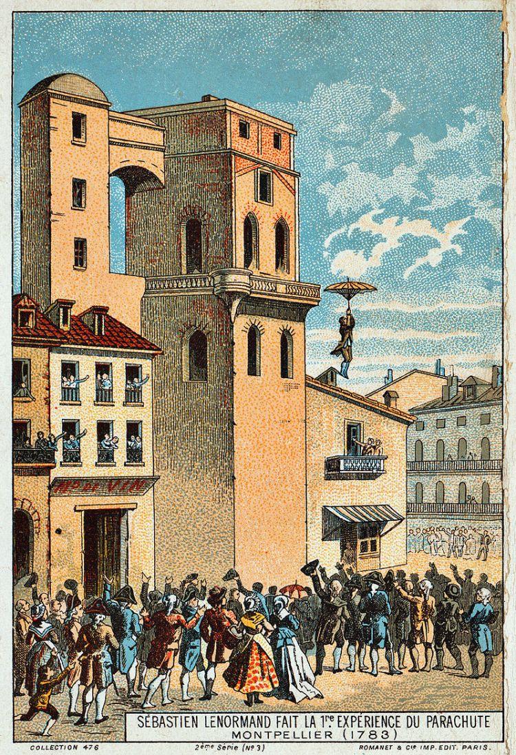 Lenormand saute de la tour de l'observatoire de Montpellier en 1783
