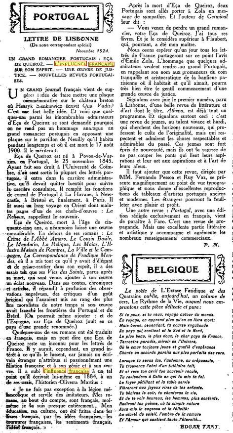 Les Annales politiques et littéraires - LETTRE DE LISBONNE [23-11-1924]