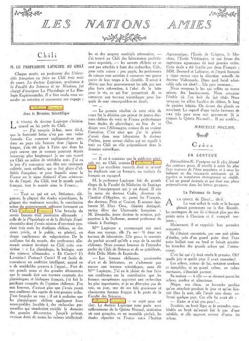 Les Annales politiques et littéraires - M. LE PROFESSEUR LAPICQUE AU CHILI. [13-12-1925]