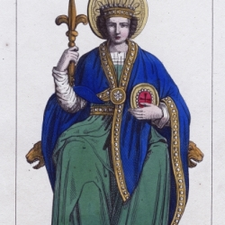 Pépin le Bref, roi des Francs (751-768). Gravure d'Alexandre Massard,1849.