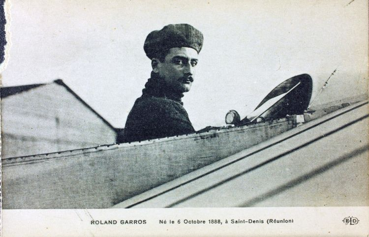 Roland Garros in Tunisia on 23 September 1913 immediately after becoming the first person to cross the Mediterranean Sea by air..jpg