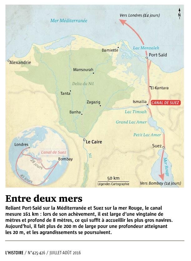 XIXe siècle, le monde est à nous !, l'histoire n°425. Canal de Suez (carte).jpg
