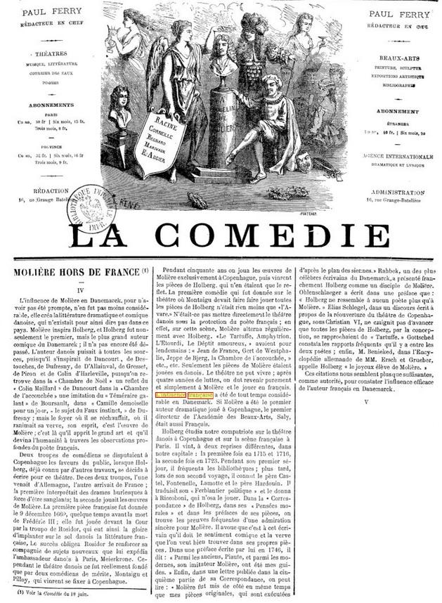 La Comédie. MOLIERE HORS DE FRANCE, Danemark [26-06-1870]