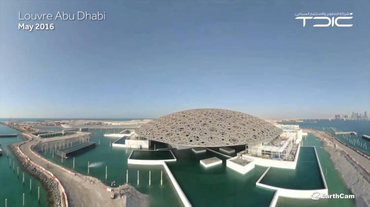 Louvre Abu Dhabi la construction avance avec l'éclairage du dôme du musée