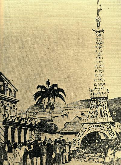 Tour Eiffel de 15m pour la fête nationale de 1889 (le mauricien.com)