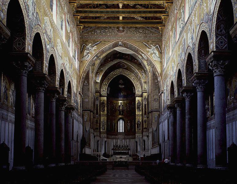 Cathédrale de Monreale, Sicile, la nef, XIIe siècle.