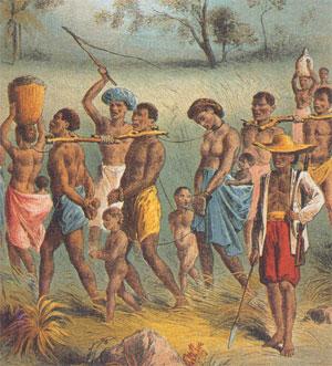 Convoi d'esclave en Afrique (gravure du XVIIIe siècle)