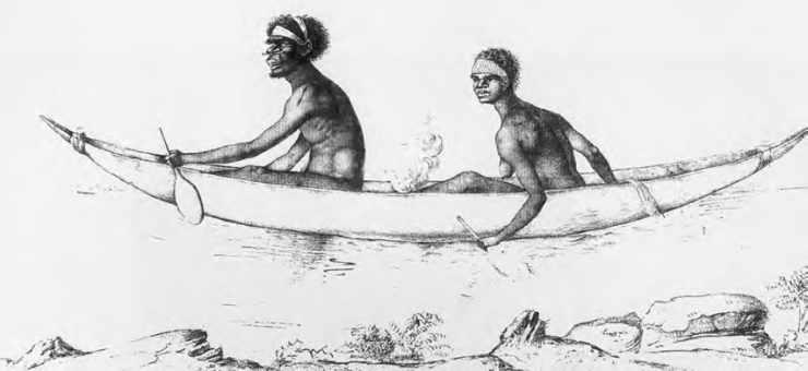 Aborigènes transportant leur feu dans leur canot.