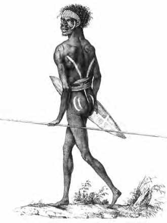 Guerrier aborigène des environs de Port Jackson, signé Nicolas-Martin Petit.