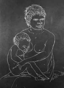 La mère et l'enfant, dessin de Nicolas-Martin Petit.