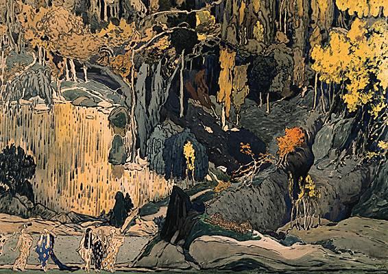 Léon Bakst, projet de décor pour Prélude à l'après-midi d'un faune