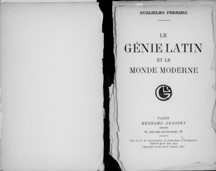 Le genie latin et le monde moderne (Guglielmo Ferrero, 1917)