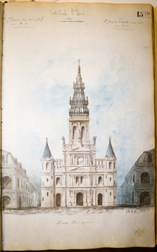 A sketch of St. Louis Cathedral in New Orleans, drawn by antebellum Louisiana architect Jacques Nicolas Bussière de Pouilly.