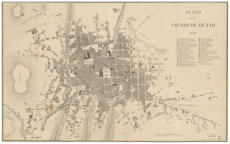 Plano de la ciudad de quito-1858