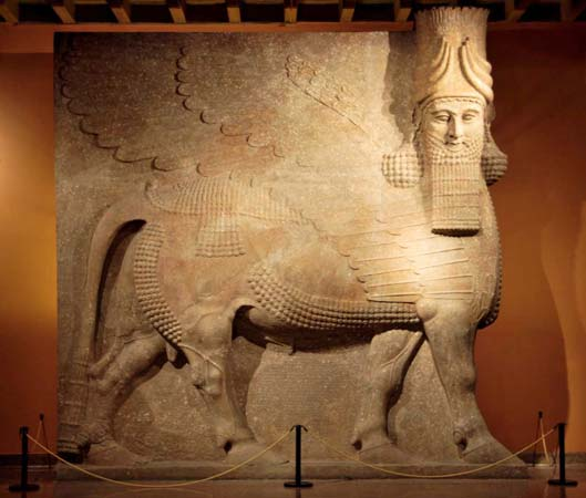 Winged bull with a human head, guardian figure from the palace at Dur Sharrukin, near Nineveh, Iraq; in the Oriental Institute, University of Chicago.