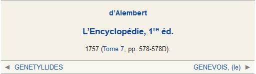 GENEVE, d'Alembert, article de L'Encyclopédie, 1re éd. 1757
