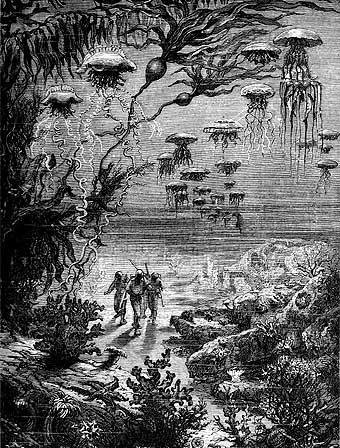 Ilustración de Veinte mil leguas de viaje submarino (1870)