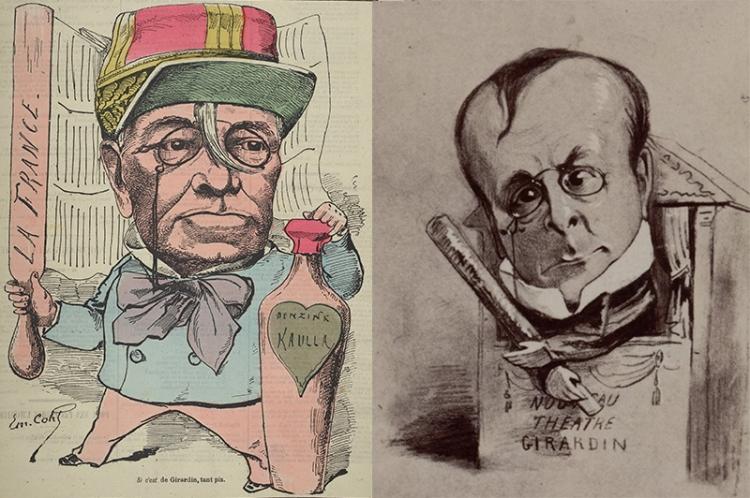Caricatures d'Emile de Girardin pour La Nouvelle lune du 7 novembre 1880 et le Panthéon Nadar