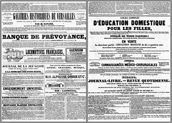 Deux exemples de publicité en dernière page de La Presse le 5 et le 15 décembre 1836