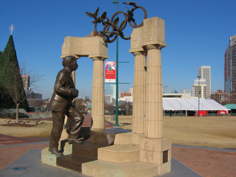 E.U, Georgia, Atlanta, The Baron Pierre de Coubertin Statue in the Centennial Olympic Park.