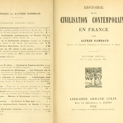 Histoire de la civilisation contemporaine en France, 1912 (Rambaud, Alfred, 1842-1905)