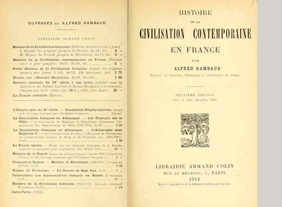 Histoire de la civilisation contemporaine en France, 1912 (Rambaud, Alfred, 1842-1905)