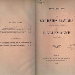 La civilisation française dans le développement de l'Allemagne, moyen âge, Paris Société du mercure de France, 1900