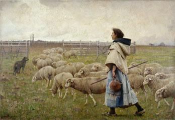Le retour du troupeau. Charles Sprague PEARCE (1851 - 1914) © Photo RMN-Grand Palais - G. Blot