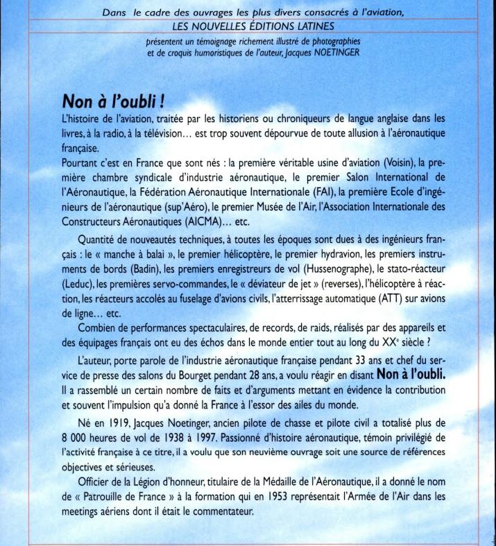 Non à l'oubli, L'incroyable aventure française dans le ciel_VERSO (J. Noetinger 2001).jpg