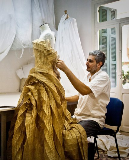 The atelier of Rabih Kayrouz, a Paris-based Beiruti designer. Credit Bryan Denton for The New York Times