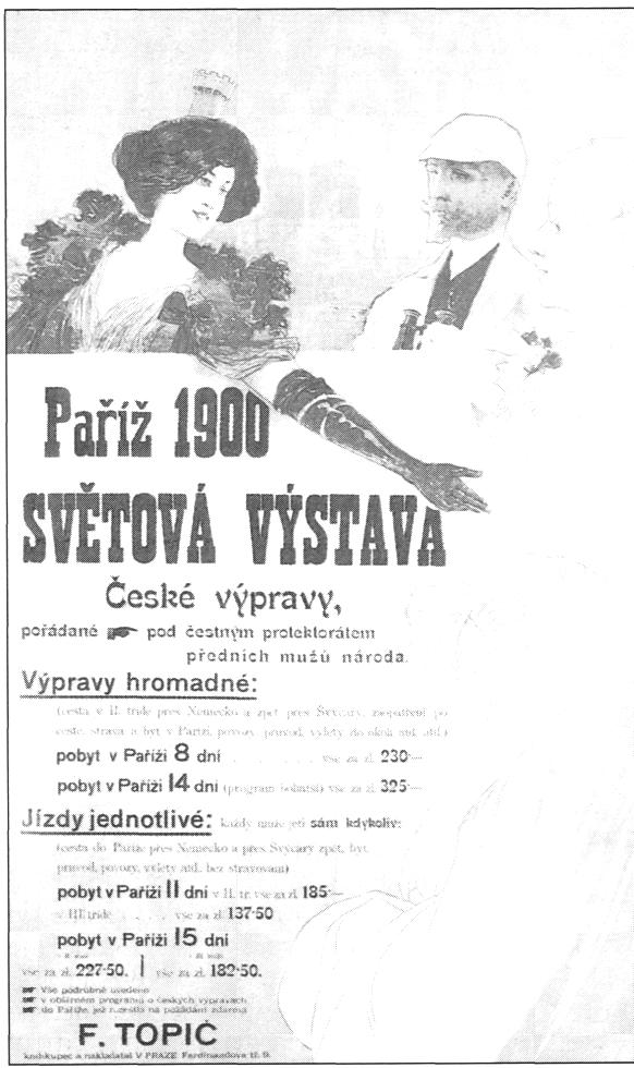 Affiche de Viktor Oliva annonçant l'organisation des voyages de groupes touristiques tchèques à l'Exposition internationale de Paris en 1900