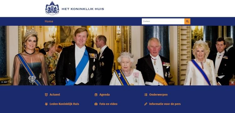 Capture d'écran du site officiel de la Maison royale des Pays-Bas