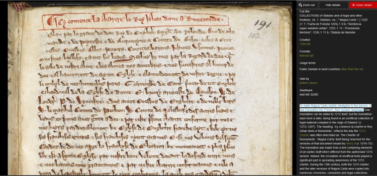 Magna Carta translated into Anglo-Norman French