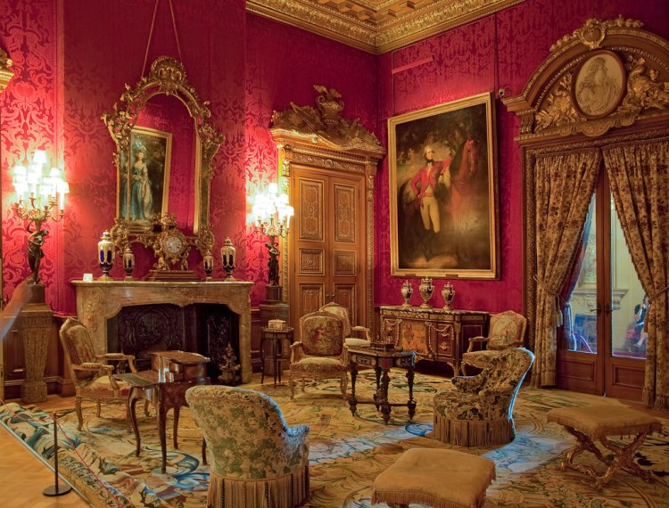 The Red Drawing Room in Waddesdon Manor, Buckinghamshire