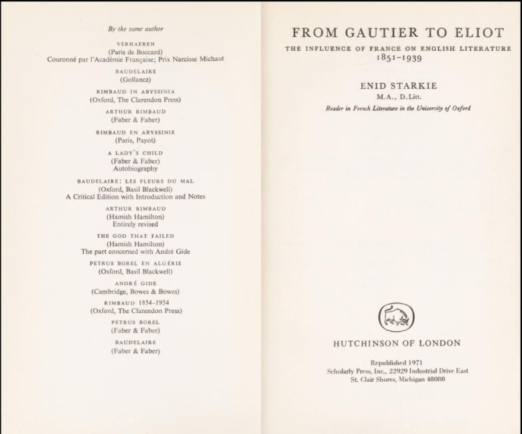 From Gautier to Eliot The Influence of France on English Literature, 1851-1939