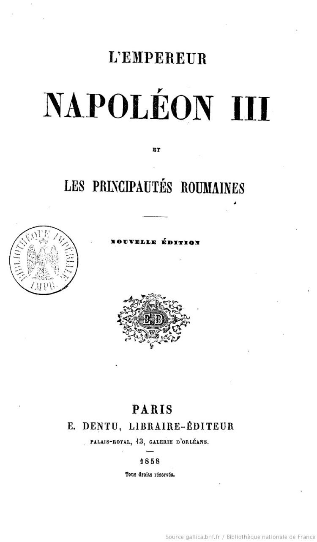 L'Empereur Napoléon III et les principautés roumaines - Armand Lévy